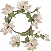 stock photo of magnolia  - Vector frame with magnolia flowers on branch - JPG