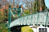 pic of suspension  - Porthill Suspension Bridge across the River Severn Shrewsbury Shropshire England UK Western Europe - JPG