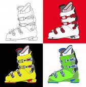 stock photo of ski boots  - Sports rigid men - JPG