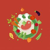 stock photo of vegetable food fruit  - Set of flat design concept icons for food and restaurant - JPG