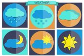 foto of windy weather  - Vector illustration of flat color weather icons - JPG
