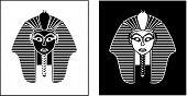 pic of pharaohs  - Egyptian pharaoh style black and white portrait vector illustration - JPG