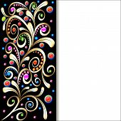 stock photo of precious stone  - illustration background with ornament with swirls of gold and precious stones - JPG