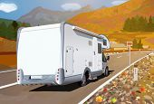 picture of camper  - Camper traveling on mountains road at autumn season - JPG