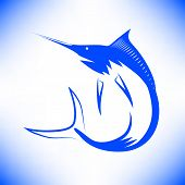 stock photo of fish icon  - Marlin Fish Icon Isolated on Blue Background - JPG