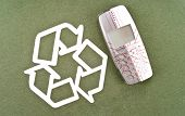 image of reprocess  - Recycling Your Old Mobile Phone Next To Recycle Symbol - JPG