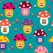 picture of fairy-mushroom  - cute animals in mushroom houses kids nature seamless pattern - JPG