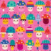 stock photo of face-fungus  - cute mushroom characters seamless pattern nature design - JPG