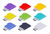 picture of usb flash drive  - Set of the colored isometric USB flash - JPG