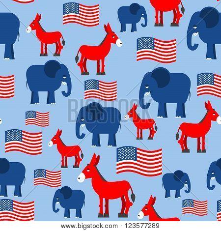 Elephant And Donkey Seamless Pattern Symbols Of Democrats And