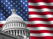 stock photo of capitol building  - dome of US Capitol building Washington DC with rippled American flag - JPG