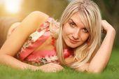 stock photo of blonde woman  - Close - JPG