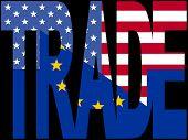 Постер, плакат: Текст торговли с ЕС и США флаги иллюстрации JPEG