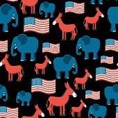 Постер, плакат: Elephant And Donkey Seamless Pattern Symbols Of Democrats And Republicans Texture For Election And