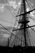 stock photo of uss constitution  - a view of two magnificent landmarks of the city of boston the zakim bridge and the uss constitution - JPG