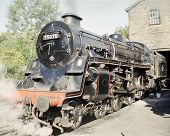 picture of loco  - Standard Class 4 Steam Loco Outside Haworth Engine Shed Keighley and Worth Valley Railway  - JPG