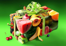 pic of parallelepiped  - Fruits in the form of gift boxes - JPG