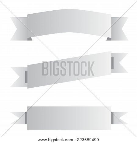 poster of three gray ribbon banner sign. three gray ribbon banner on white background. black and white banner symbol.