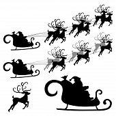 stock photo of santa-claus  - Santa and reindeer silhouette - JPG