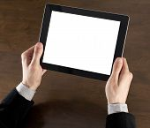 picture of sensory perception  - Businessman hands are holding the touch screen device - JPG