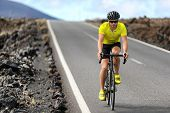 Road bike cyclist man cycling. Biking Sport fitness athlete biking on road bike. Active healthy spor poster