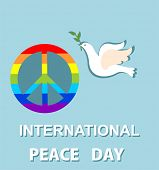 Blue greeting card with paper cut out dove and peace symbol with rainbow for International Peace day poster