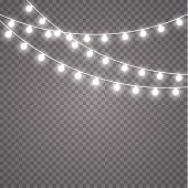 Glowing Lights For Holidays. Transparent Glowing Garland. White Glowing Lights For Greeting Card Des poster
