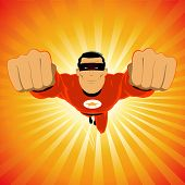 stock photo of hero  - Illustration of a cartoon comic super hero - JPG