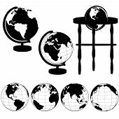 picture of eastern hemisphere  - Silhouettes of Globes on Stands and a set of various globe views - JPG