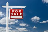 Right Facing For Sale Real Estate Sign Over Blue Sky and Clouds With Room For Your Text. poster