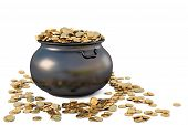 stock photo of gold panning  - Pot of gold coins - JPG