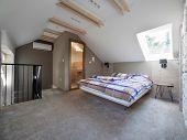 Attic apartment bedroom interior design poster