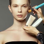 Makeup Artist Applies Cosmetics. Beautiful Woman Face. Perfect Makeup. Makeup Detail. Beauty Girl Wi poster