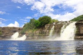 foto of canaima  - Cascades of waterfalls at Canaima National Park - JPG