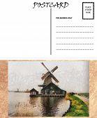 Постер, плакат: Голландский шаблон пустой чистую открытку ветряная мельница изображения