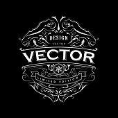Antique Label Typography Vintage Badge Hand Drawn Frame Design Vector poster