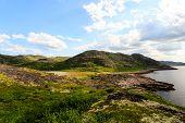 Northern Polar Summer. Beautiful Coastline Of Barents Sea, Arctic Ocean, Kola Peninsula, Russia poster