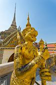 picture of palladium  - Golden statue of monkey is standing on guard in Wat Phra Keaw - JPG