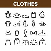 Fashion And Clothes Collection Icons Set Vector Thin Line. Shoes, Hat, Clothing Varieties And Access poster