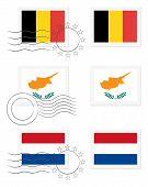 Постер, плакат: Бельгия Кипр и Нидерланды флаги на почтовой марке