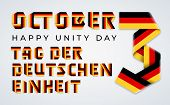 Congratulatory Design For October 3, Germany Unity Day. Text Made Of Bended Ribbons With German Flag poster