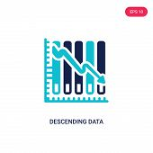 Descending Data Analytics Line Graphic Icon In Two Color Design Style. Descending Data Analytics Lin poster