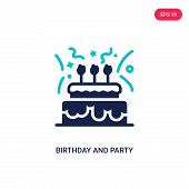 Birthday And Party Icon In Two Color Design Style. Birthday And Party Vector Icon Modern And Trendy  poster