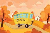 School Bus Traveling With Children To School. Vector Illustration Of Yellow Bus With Schoolchildren. poster
