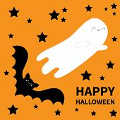 Happy Halloween. Flying Bat Ghost Spirit. Black Stars Silhouette. Cute Cartoon Character With Big Wi poster