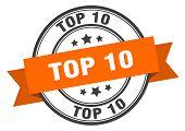 Top 10 Label. Top 10 Orange Band Sign. Top 10 poster