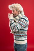 Cold Shivering. Winter Outfit For Fashionable Man. Mature Fashion Model Enjoys Cold Weather Style. B poster