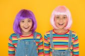 Cheerful Friends In Bright Colorful Wigs. Anime Cosplay Party Concept. Happy Childhood Concept. Anim poster