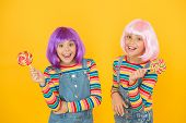 Sweet Life. Anime Cosplay Party Concept. Happy Little Girls. Anime Fan. Vibrant Characters Fantastic poster