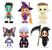 Halloween Characters Vector Set. Halloween Character Creature Of Zombie, Witch, Mummy, Wolf, Vampire poster